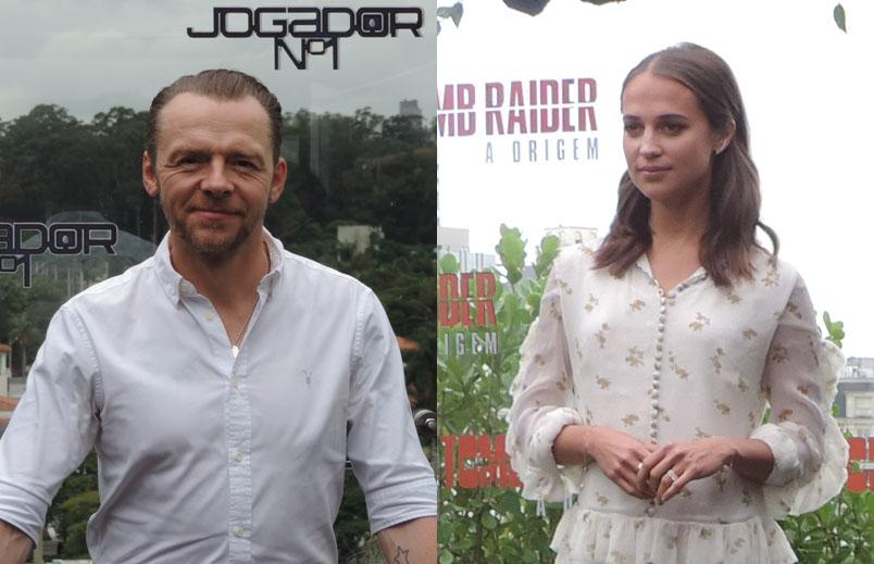 Hoje os atores Simon Pegg e Alicia Vikander estão em São Paulo para divulgação de Jogador nº 1 e Tomb Raider