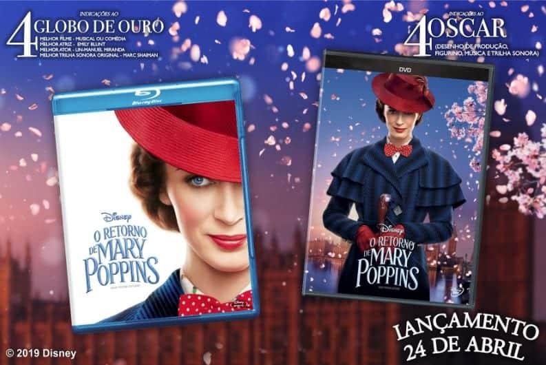 A incomparável Mary Poppins está de volta E foi indicada para Quatro Oscar®, incluindo Melhor Canção Original