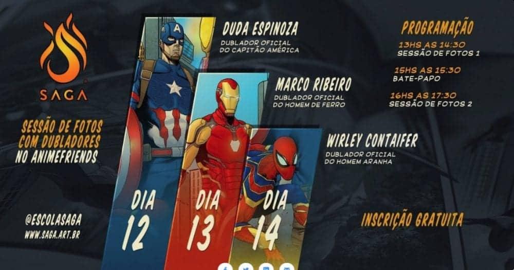 Dubladores do Capitão América, Homem de Ferro e Homem-Aranha são algumas das atrações da SAGA no Anime Friends