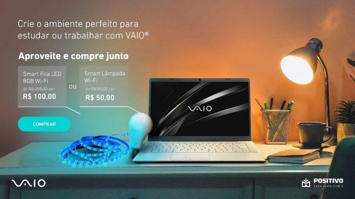 Promoção da VAIO tem descontos que chegam a R$ 1.825 em notebooks e oferta adicional de até 75% em produtos da Positivo Casa Inteligente